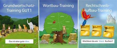 Bilder der Lernprogramme GUT1, Wortbautraining und Rechtschreib-Aufbau-Training