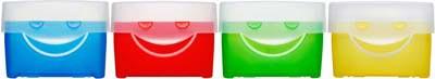 Abbildung von 4 Lernkarteien in blau, rot, grün und gelb