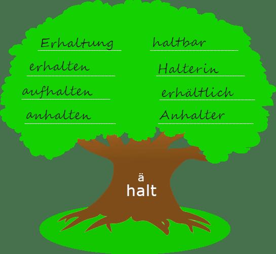 """Baum mit dickem Stamm. Auf dem Baumstamm steht der Wortstamm """"halt"""". Auf der Krone des Baums stehen Wörter, die mit dem Wortstamm gebildet wurden."""