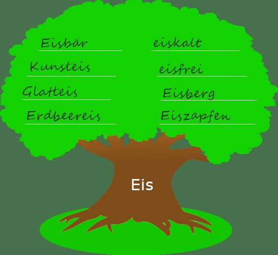 """Baum mit dickem Stamm. Auf dem Baumstamm steht der Wortstamm """"Eis"""". Auf der Krone des Baums stehen Wörter, die mit dem Wortstamm gebildet wurden."""