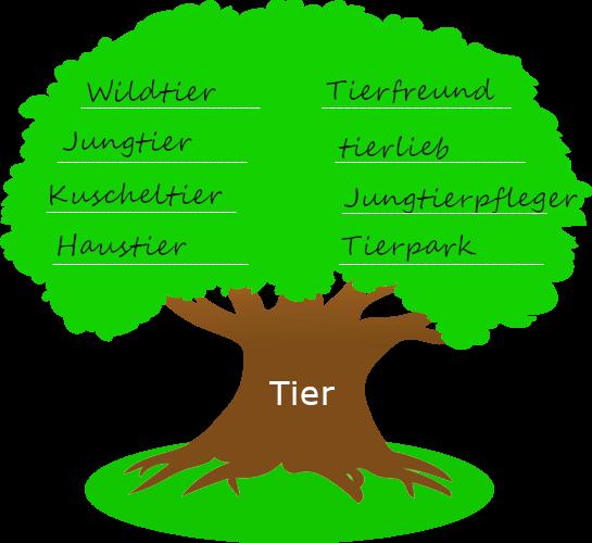 """Baum mit dickem Stamm. Auf dem Baumstamm steht der Wortstamm """"Tier"""". Auf der Krone des Baums stehen Wörter, die mit dem Wortstamm gebildet wurden."""